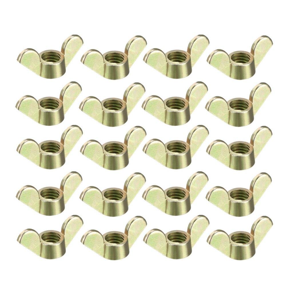 Tuercas de ala 20 piezas Uxcell, tuerca de mariposa M4 M5 M6 M8 M10, piezas de sujeción Hardwere para muebles, tono plateado de Zinc y bronce