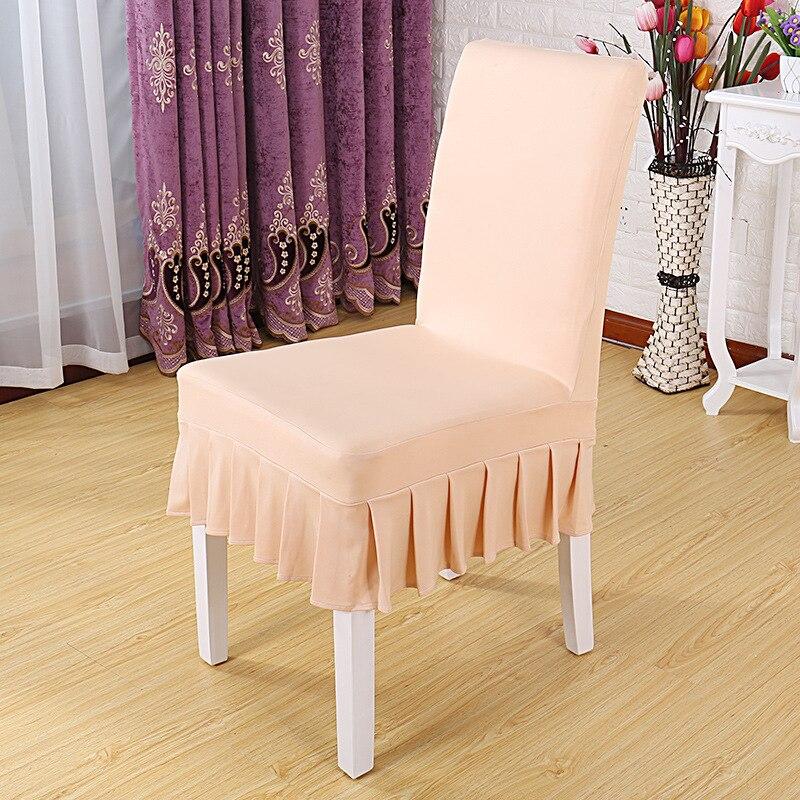 YRYIE-couvre-chaise élastique extensible   Housse de Banquet, couleur unie, demi-jupe, housse de siège pour Restaurant, 1 pièce