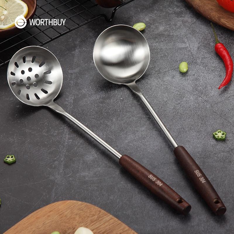 WORTHBUY Cucharones de sopa de acero inoxidable 304, utensilios de cocina con mango de madera antideslizante para utensilios de cocina de restaurante