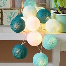 20pcs/set Light Blue-White Cotton Balls Christmas Lights String Flasher LED Garlands Holiday Party Wedding Kids Room Decoration