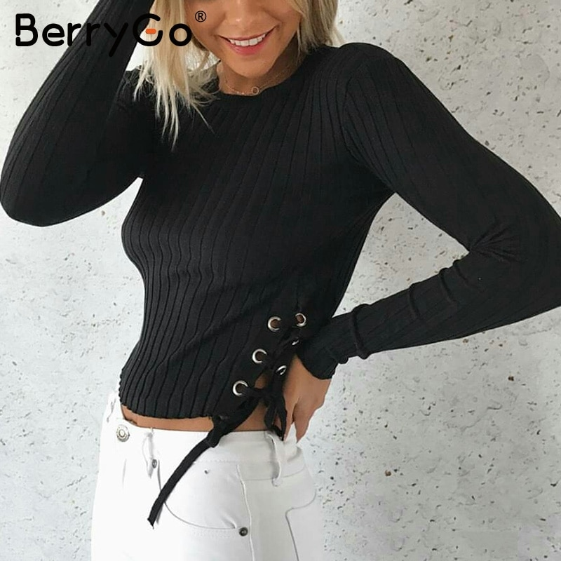 Женский трикотажный свитер BerryGo, Черный Повседневный эластичный свитер на шнурках на осень и зиму