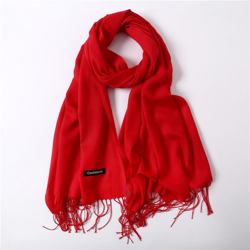 Mulheres xale de cashmere vermelho sólido 190*30 cm xale inverno cachecol quente cachecol de caxemira cachecóis com borla senhora de compras do sexo feminino suprimentos
