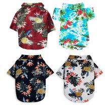 Dog Clothes Summer Beach Shirt Dog Cute Print Hawaii Beach Casual Pet Travel Shirt Pineapple Floral