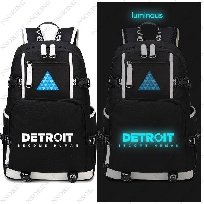 Juego popular Detroit mochila Become humana, bolsa de lona para Cosplay, mochila escolar luminosa, bolsas de viaje