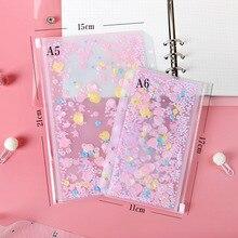 Pétale rose à paillettes Transparent PVC A5 A6 sac à documents à feuilles mobiles dossier organisateur de papeterie