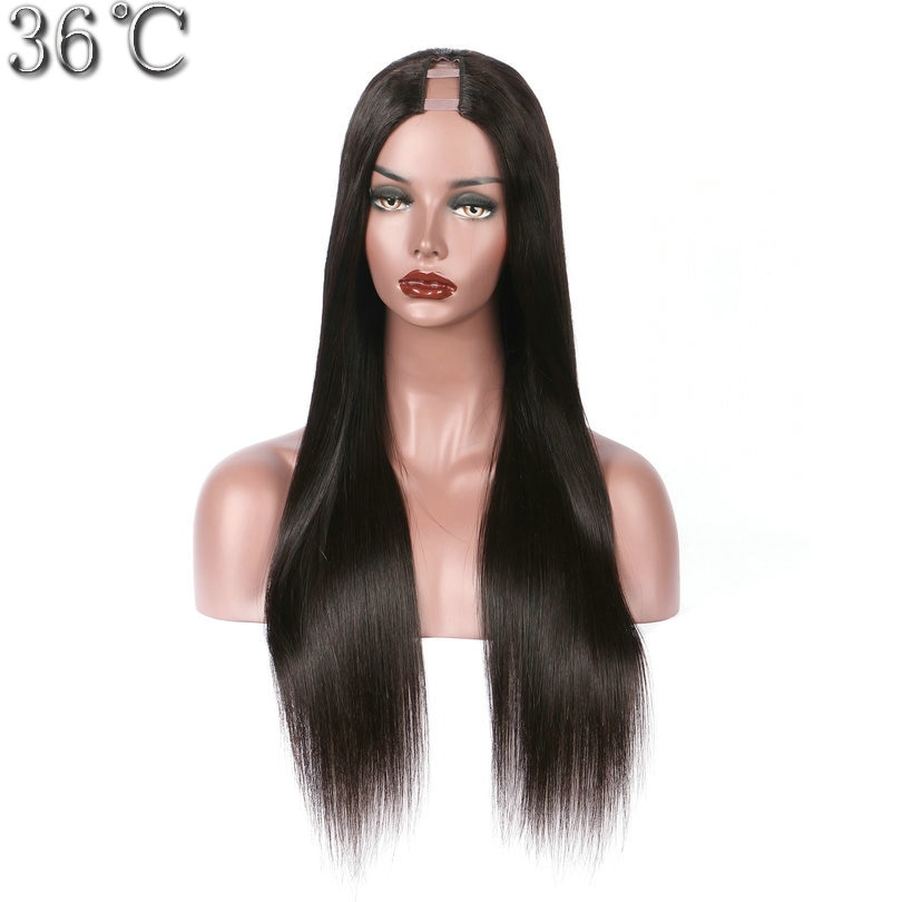 Peluca de pelo humano de PAFF, peluca de pelo Remy peruano liso 100% sedoso, parte media con Color Natural 130% 150% 180% de densidad