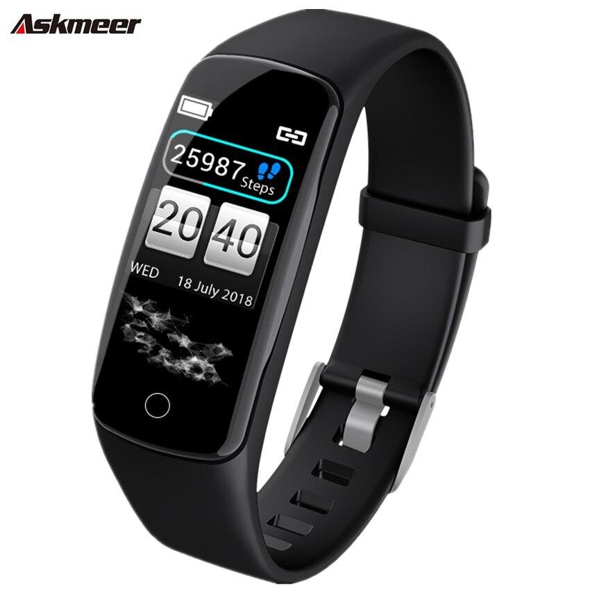 ASKMEER V8 pulsera inteligente Monitor de ritmo cardíaco pulsera inteligente IP67 reloj inteligente impermeable de los hombres de banda inteligente para IOS Android Teléfono