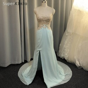 SuperKimJo Light Blue Mermaid Evening Dress 2020 Backless Sexy Lace Applique Beaded Evening Gown Vestido De Longo
