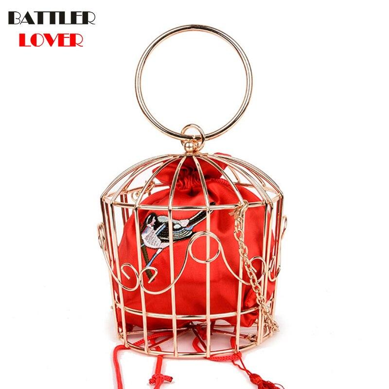 Nuevo diseño de bolso de noche de jaula de pájaros de Mujer con marco de Metal bordado, Mini bolso, bolso para Mujer, bolso con borla dorada