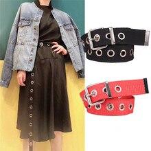 Personality Design Casual Metal Long Belt Female Students Jean Canvas Waist Belts Tide Silver Pin Bu
