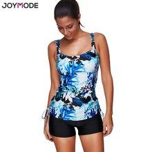 JOYMODE Hot Sale Women Swimsuit Blue Print Tankini Swimwear Wireless Straps Beach Bathing Suit 3XL Plus Size Swim Suit Biquini