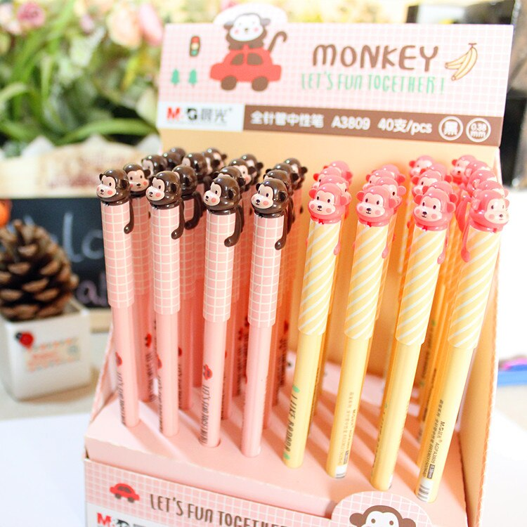 12 PCS Chenguang student stationery  monkey needle full monkey 0.38mm unisex pen gel pen