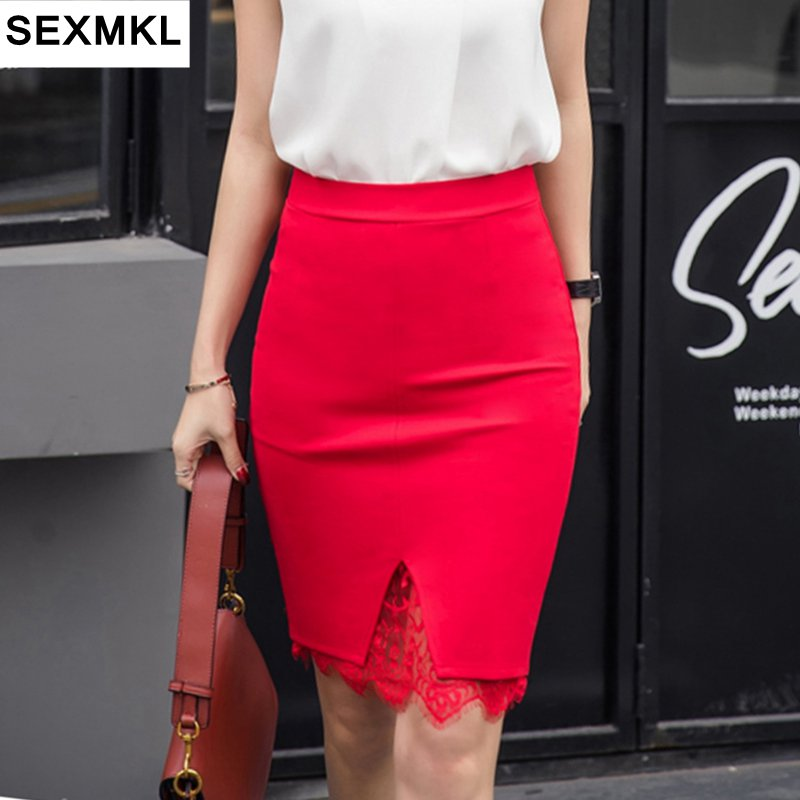 SEXMKL 5XL Mini faldas de verano para mujeres 2020 falda de cintura alta de moda de encaje Patchwork damas Midi falda elegante estiramiento lápiz falda