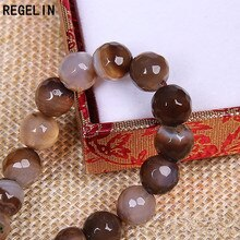 REGELIN perles de pierre naturelle ronde marron cristal Quartz semi-fini perle 4/6/8/10/12/14mm perle despace libre bricolage bijoux de mode