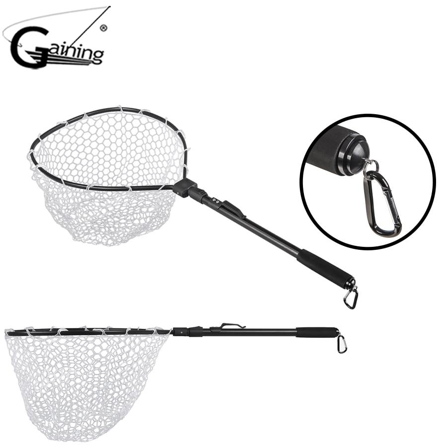 Malla telescópica para pesca, marco de aleación de aluminio, malla de caucho, Clip magnético, cordón, red de pesca