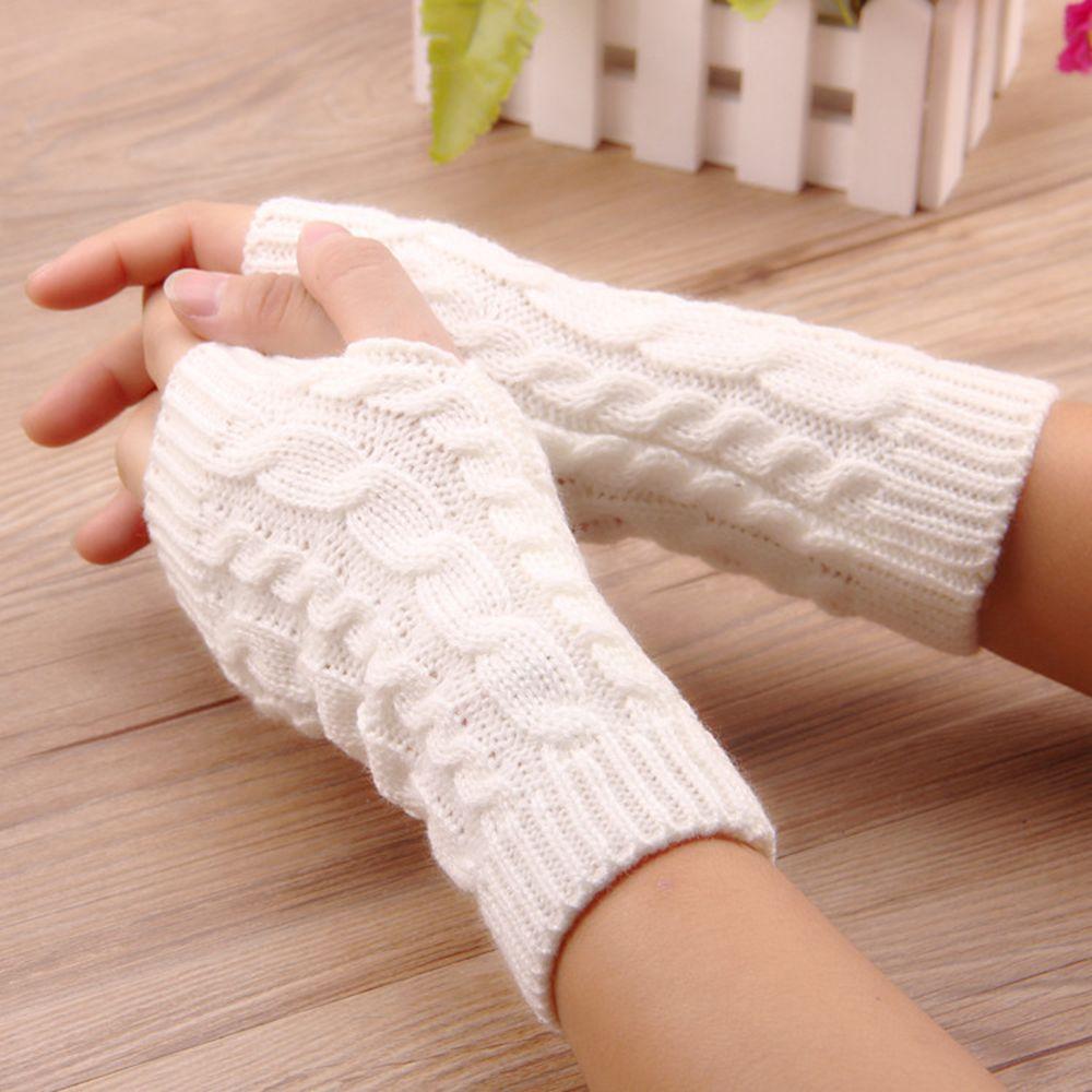 Fashion Unisex Men Women Knitted Fingerless Winter Gloves Soft Warm Mitten Solid
