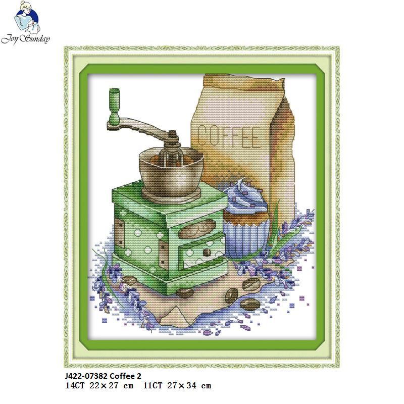 Joy sunday Coffee 2 Pattern DIY Handmade DMC 14ct and 11ct Cross stitch kit and Precise Printed Embroidery factory wholesale