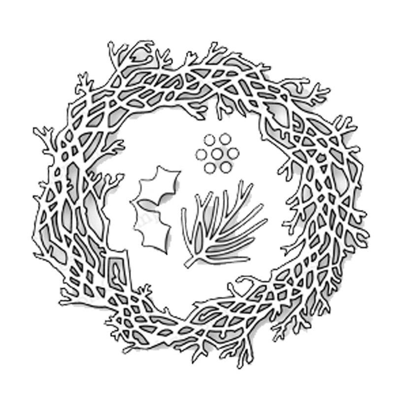 Bi fujian ramo grinalda holly folhas de corte de metal dados diy scrapbook papel ofício cartão álbum presente faca molde cortador arte