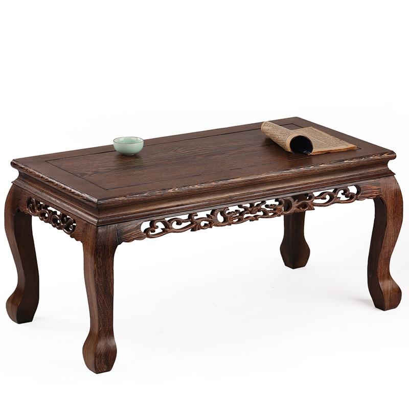 Muebles de caoba mesa de madera Kang varias ventanas talladas plataforma tatami antigua