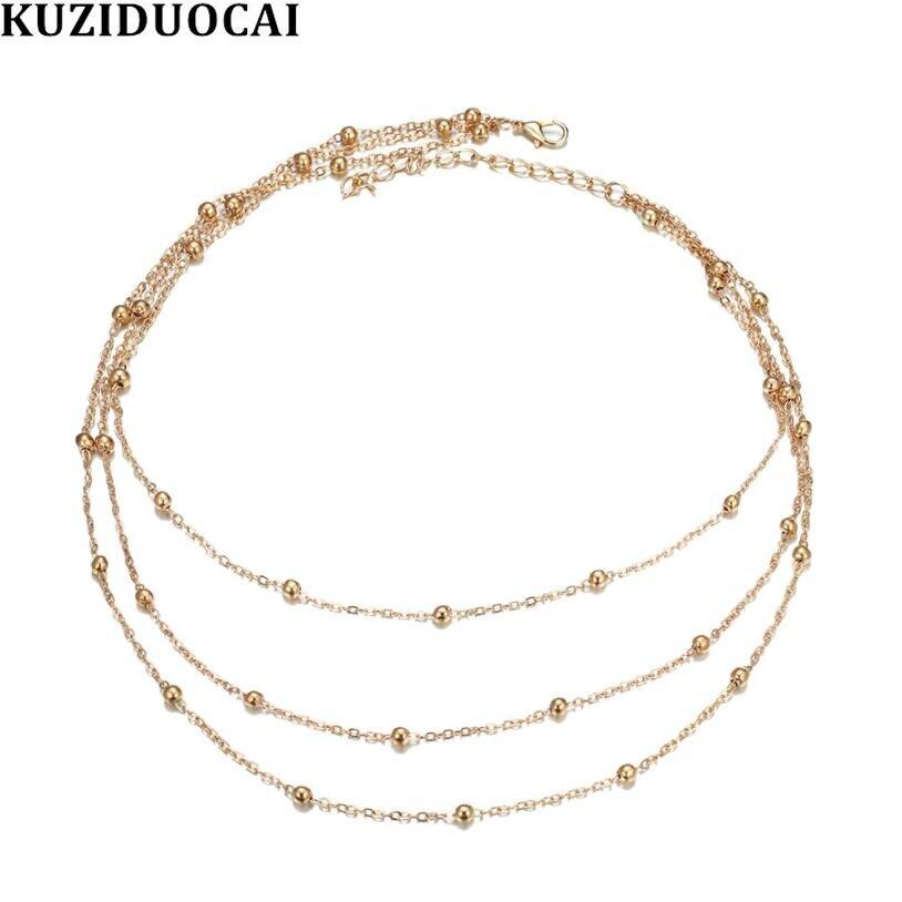 Kuziduocai 2019, novedad de verano, joyería de moda, Gargantilla de cuentas multicapa de aleación, Collares y colgantes de cadena corta para mujeres, Collares