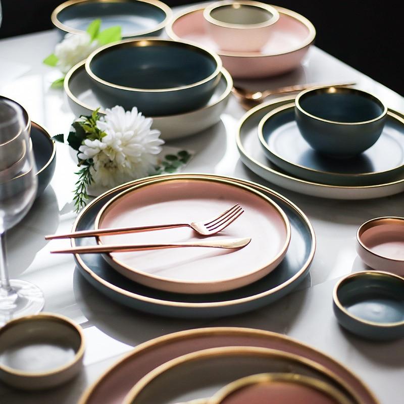 Plato de estilo occidental de carne de cerámica con borde dorado nórdico plato de China platos caseros plato porceliano creativo plato de fruta postre vajilla