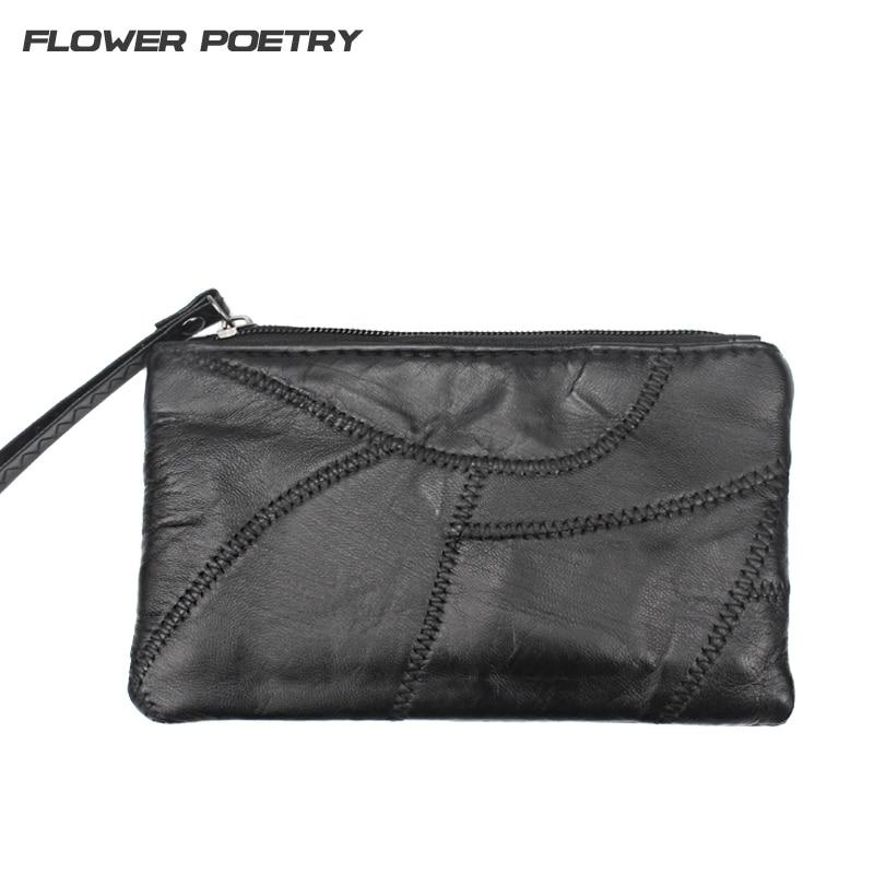 Genuine Leather Women wallet Brand Black Soft Sheepskin Leather Clutch Patchwork Purse Bags Zipper Purses Female Pouch Holder