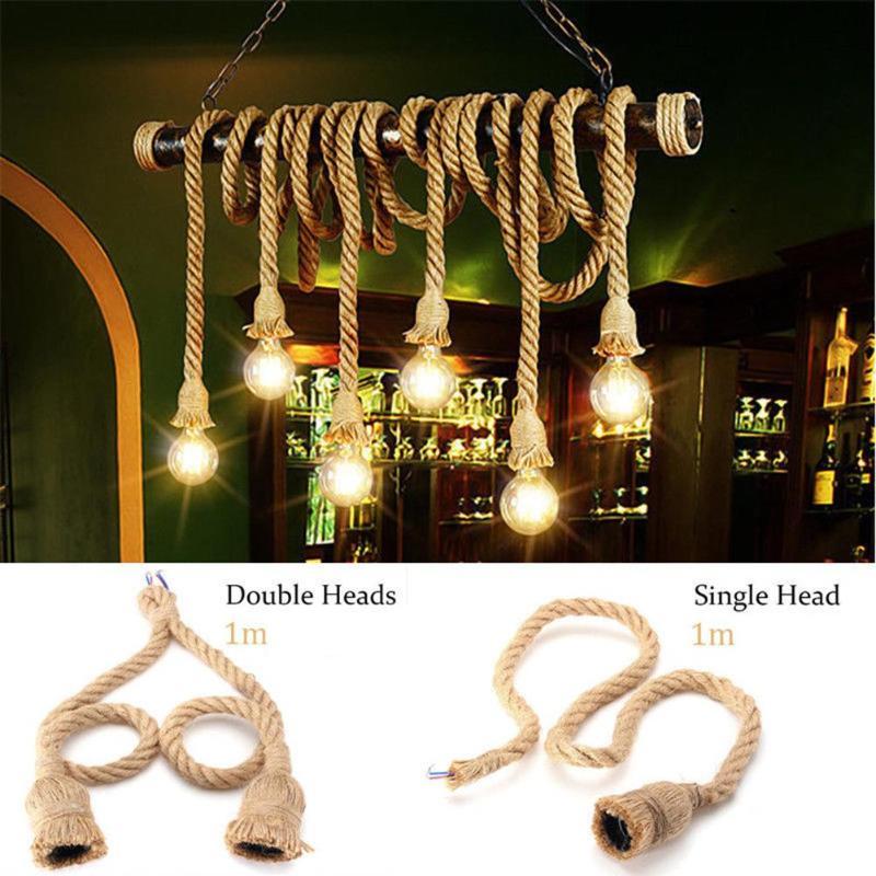 220V E27 Rope Lamp Holder Vintage Electric Cord Wire DIY Pendant Garland String Lights Base Decorative Light Bulb Holder 1m 1.5m