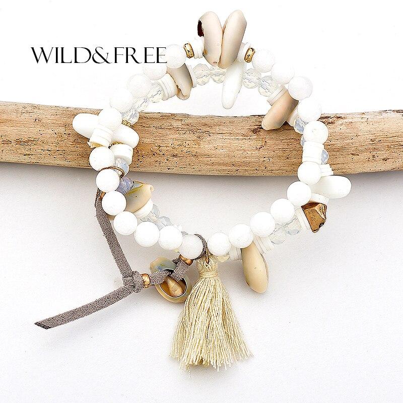 Selvagem e livre estilo boho encantos estiramento contas pulseiras para mulher concha natural branco pedra grânulos & bege borla moda jóias