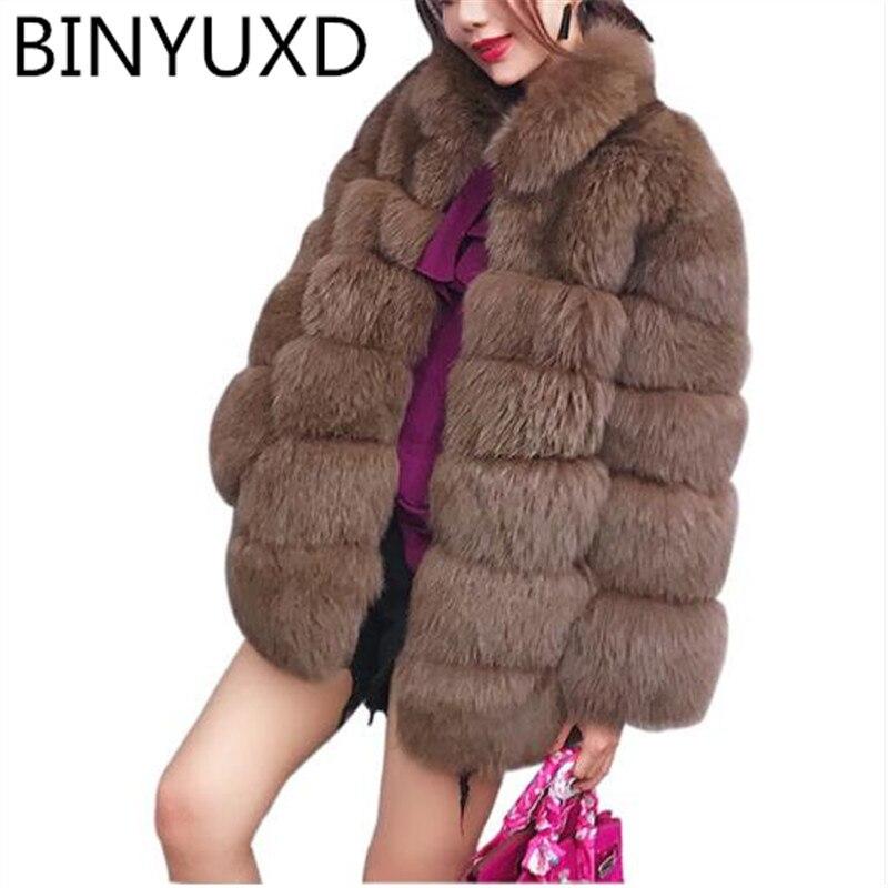 BINYUXD, abrigo de invierno de talla grande 2019, abrigo de piel sintética...