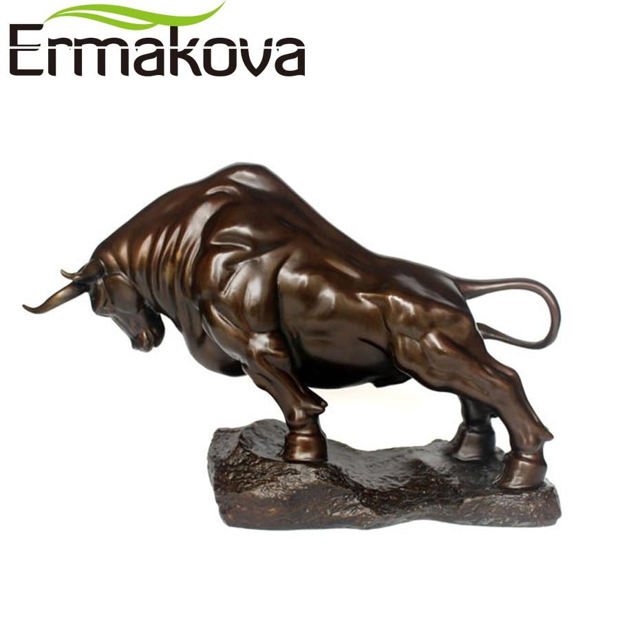 Ermakova 23.5cm parede de bronze rua touro boi estatueta grande tamanho de carregamento stock market bull estátua feng shui escultura decoração do escritório