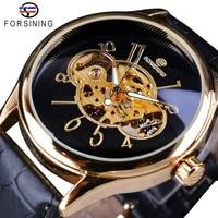 forsining classic creative skeleton design golden case transparent open work men watch top brand luxury mechanical wristwatch