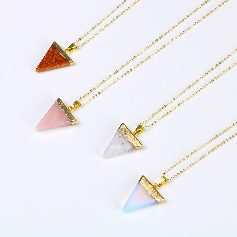 Красочные треугольной формы розовый камень кристалл ожерелье полудрагоценный камень натуральный камень кулон для женщин опал оптовая про...