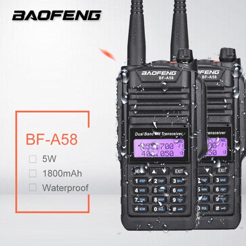 Портативная рация Baofeng BF-A58 5 Вт, 2 шт., водонепроницаемая радиостанция Baofeng a58, двухдиапазонный VHF UHF, Любительский радиоприемник