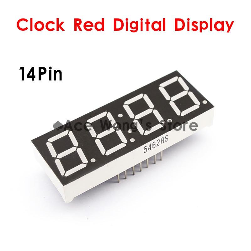 Envío Gratis 5 unids/lote) 0,56 pulgadas 4 dígitos 7 siete segmentos 14 Pin reloj rojo LED numérico pantalla Digital, ánodo común
