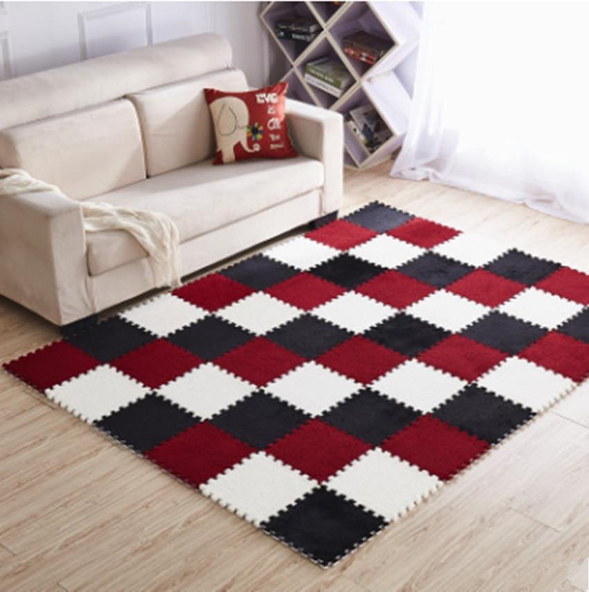 10pcs/set 30cm/piece Puzzle Mat EVA Foam shaggy velvet Carpet door mat Jigsaw Mat plush fabric Carpet Area Rug Room Floor Mats