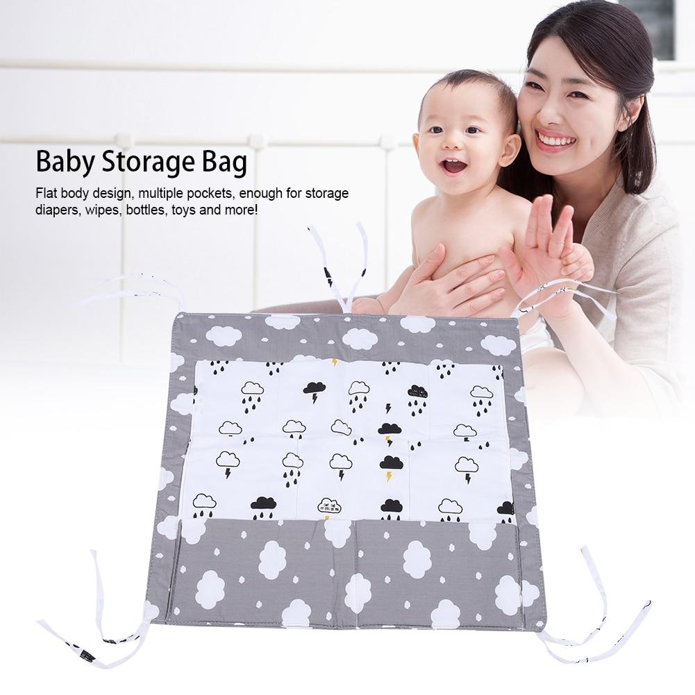 Baby Bed Hanging Storage Bag Baby Cot Bed Brand Baby Cotton Crib Organizer 52*55cm Toy Diaper Pocket for Crib Bedding Set