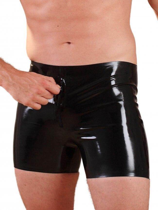 Натуральные латексные Боксеры Короткие штаны резиновые трусы с молнией