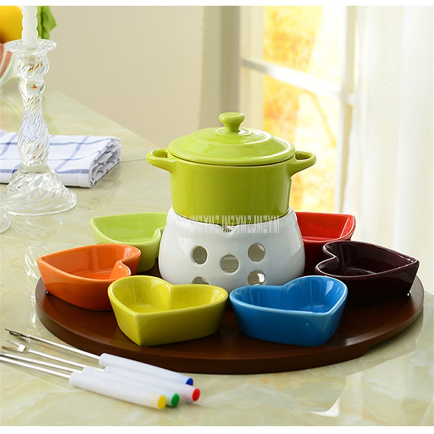 Plato con forma de corazón, vela de cerámica, conjunto de Fondue de Chocolate, vela, calentador de fuego, Mini Plato de frutas, horno, herramienta para queso