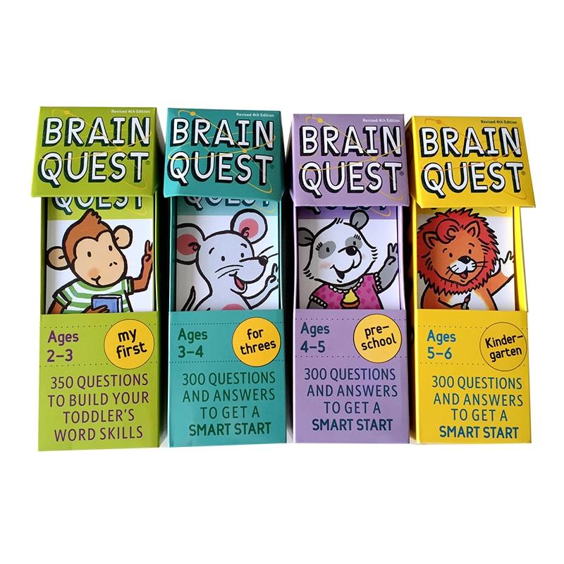4 cajas cerebro Quest inglés jardín de infancia Tarjeta de Desarrollo libros de pegatinas preguntas y respuestas Tarjeta de inicio inteligente juguetes para niños
