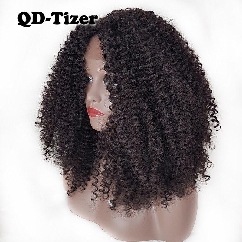 Pelucas frontales de encaje sintético Afro de pelo rizado QD, sin pegamento, rizado, Color Natural, pelucas frontales de encaje para mujeres negras