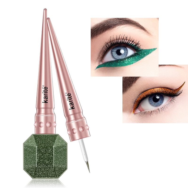 Glitter Eye Liner Liquid Makeup Easy to Wear Waterproof Shimmer Eyeliners Pigmented Red Blue Gold Eyeliner Karite Cosmetics