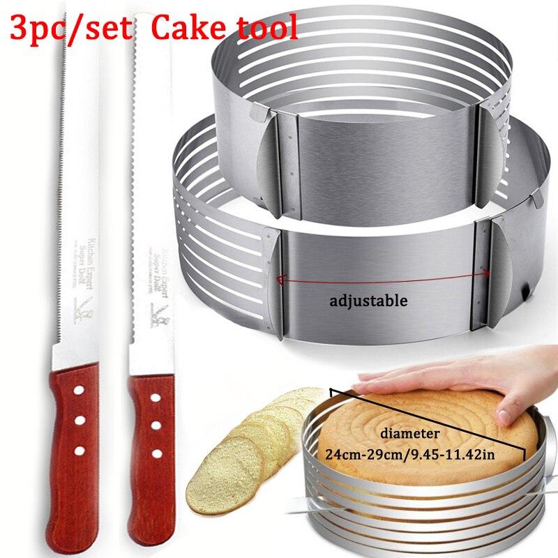 Camada de bolo ajustável corte mousse cozinha chef serrilhado torrada faca bolo slicer dispositivo molde bakeware ferramentas bolo de cozimento