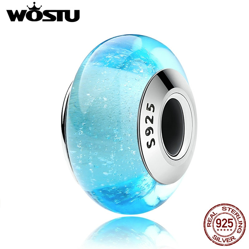 Wostu authentic 925 prata esterlina elsa céu cor azul contas de vidro murano caber original wst charme pulseira jóias cqz023
