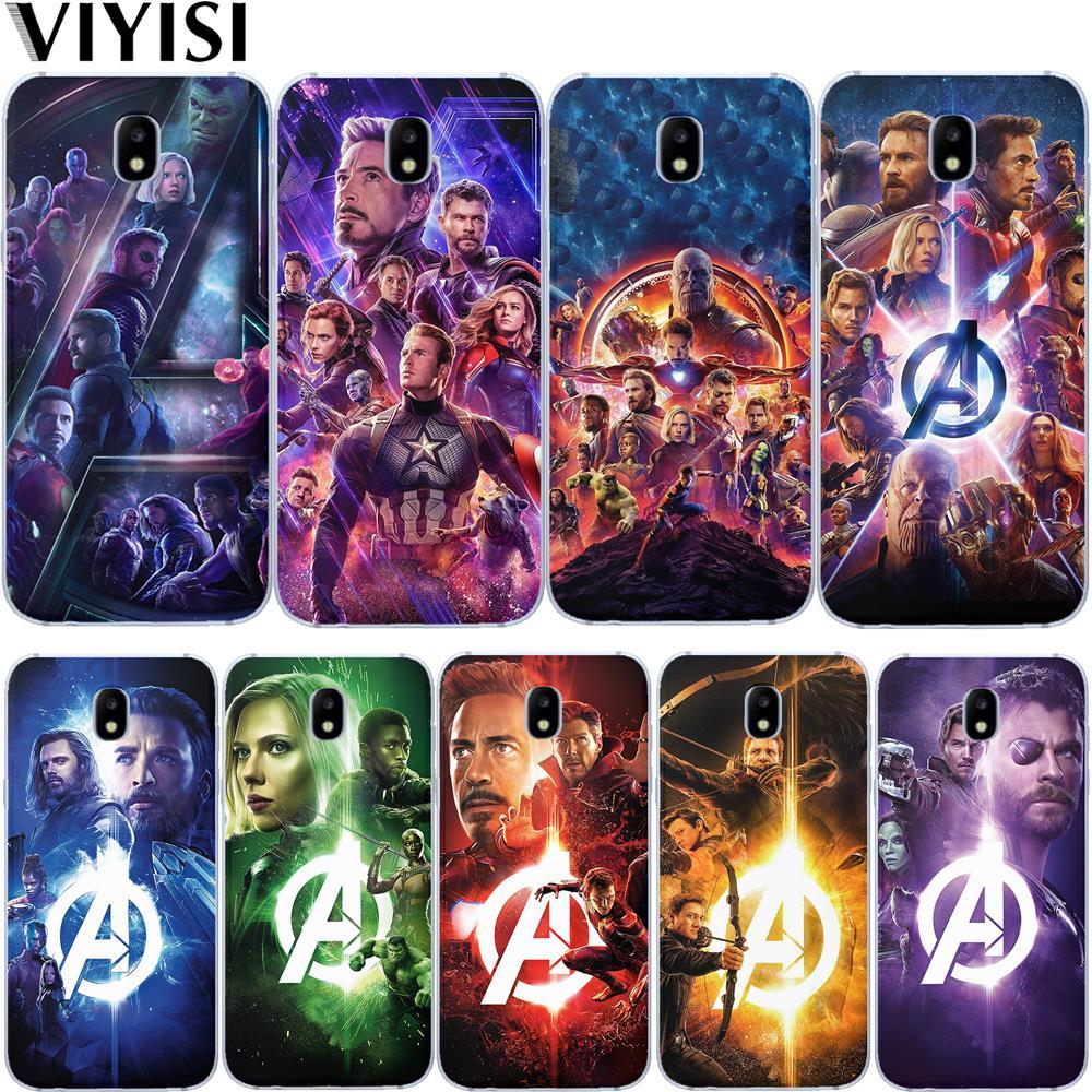 Marvel Мстители Железный человек Капитан Америка Супергерой чехол для Samsung Galaxy J3 J4 J5 J6 J7 J8 Plus 2016 2017 2018 Etui Coque