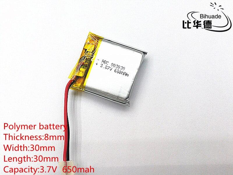 Бесплатная доставка 1 шт./лот 3,7 V 650mah 803030 литий-полимерная LiPo аккумуляторная батарея для Mp3 Mp4 Mp5 DIY
