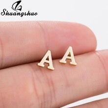 Shuangshuo A-Z алфавитные серьги-гвоздики крошечные милые серьги с буквенным принтом Alphabat для женщин и девочек, детские ювелирные изделия