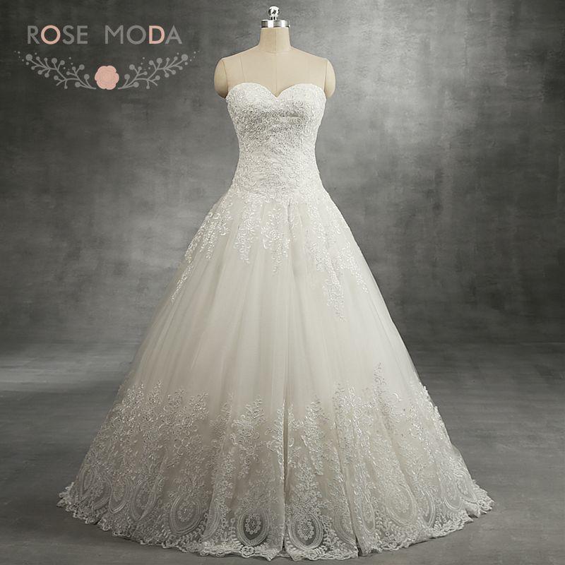 Rosa Moda delicado encaje vestido de novia sin tirantes princesa boda vestido de baile talla grande vestido de boda 2018