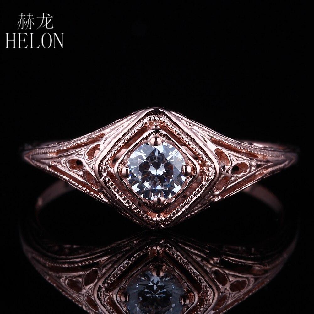 HELON sólido 14K oro rosa corte redondo 4mm moissanitas genuinas anillo de compromiso fina boda Vintage antiguo joyería con solitario anillo