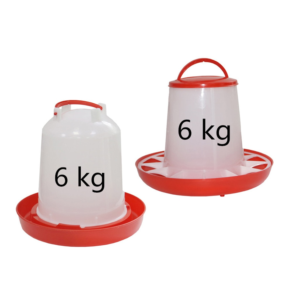 1Pc 6KG Chicken Drinker/Feeder Rooster Hen Drinking Kettle Feeding Device Farm Animal Poultry Feeding Watering Supplies