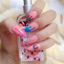 Uñas postizas de color rosa naranja para uñas, uñas postizas acrílicas DIY, puntas de uñas postizas para uñas 24 Uds Z130